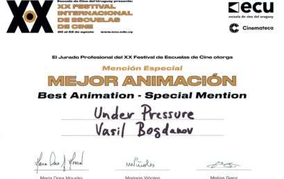 "The animation film ""Under pressure"" by Vassil Bogdanov recieves Special mention by the Professional Jury in the 20 International Film Schools Festival"